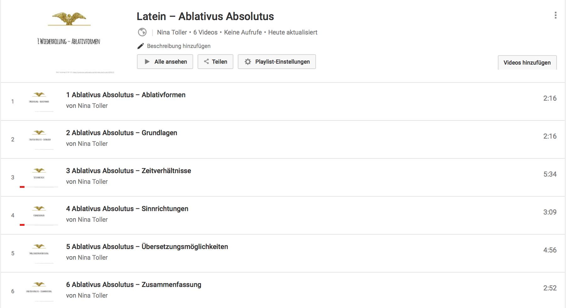 """Das ist der Überblick über die Playlist, im Video unten sieht man es an """"1/6"""" zum Beispiel."""